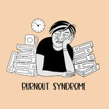 Mental health. Burnout syndrome. Mental disorder. Vector illustration. Mental health. Burnout syndrome. Chronic fatigue. Depression. Mental disorder. A man stock illustration