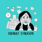 Mental health. Burnout syndrome. Mental disorder. Vector illustration. Mental health. Burnout syndrome. Chronic fatigue. Depression. Mental disorder. The woman stock illustration