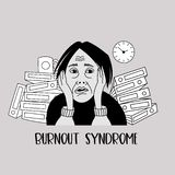Mental health. Burnout syndrome. Mental disorder. Vector illustration. Mental health. Burnout syndrome. Chronic fatigue. Depression. Mental disorder. The woman vector illustration