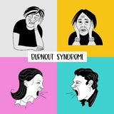 Mental health. Burnout syndrome. Mental disorder. Vector illustration. Mental health. Burnout syndrome. Chronic fatigue. Depression. Mental disorder. Aggression stock illustration
