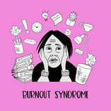 Mental health. Burnout syndrome. Mental disorder. Vector illustration. Mental health. Burnout syndrome. Chronic fatigue. Depression. Mental disorder. The woman royalty free illustration