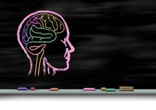 Mental Health Care Concept. And autism education or autistic development disorder as a symbol of a young mind psychology as a chalk drawing on a school royalty free illustration