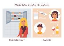 Mental health care. Disease treament and negative factors stock illustration