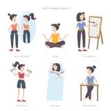 Mental health care vector illustration. Steps to mental health. Big set of infographic elements. Mental health care vector illustration. Girl improving her royalty free illustration