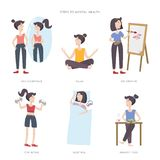 Mental Health Care Vector Illustration. Steps To Mental Health. Big Set Of Infographic Elements Royalty Free Stock Images