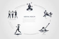 Mental health - communication, yoga, read, swimming, run vector concept set. Hand drawn sketch isolated illustration stock illustration
