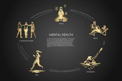 Mental health - communication, yoga, read, swimming, run vector concept set. Hand drawn sketch isolated illustration royalty free illustration