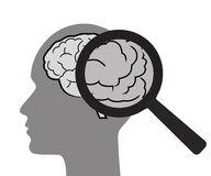 Mental health concept with brain and magnifier. Mental health concept with brain and magnifier illustration. White background Stock Image