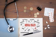 Mental Health Concept. Chart with keywords and icons. Doctor`s desk with notebook.  Royalty Free Stock Photo