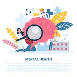 Mental health concept. Doctor treat person mentality. Psychological support. Problem with mind. Vector illustration in cartoon style royalty free illustration