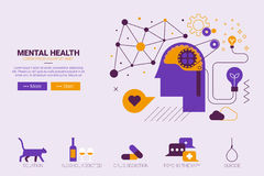 Mental health concept. Flat design illustration of mental health and depression concept with icons Royalty Free Stock Image
