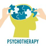 Mental health concept. Psychotherapy and solving mental problems. Vector stock illustration