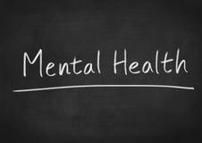 Mental Health. Concept text on blackboard background stock illustration