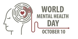 Mental health day. Maze with path to heart on human head in line art style. Banner for World mental health day. 10 october royalty free illustration