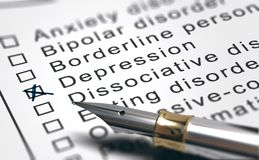 Mental Health Disorder List, Depression Diagnosis stock image