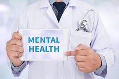 MENTAL HEALTH. Doctor holding  digital tablet Stock Photos