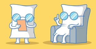 Doctor pillow character vector illustration. stock illustration