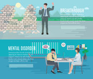 Mental health flat banners set. Mental health anxiety disorder breakthrough with psychiatrist counseling 2 flat horizontal banners set abstract  vector Royalty Free Stock Images