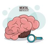 Mental health. human brain search innovation discovery image. Vector illustration Stock Images