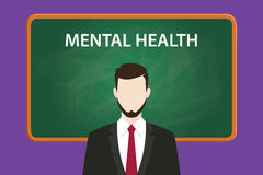 Mental health illustration with a bearded man wearing black suit in front of green chalk board and white text Stock Photo