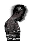 Mental Health. A man experiencing feelings of fear, anxiety and depression. Mental Health vector illustration Stock Image