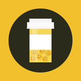 Mental disease icon set. Mental health medication concept. Stock vector illustration of a plastic drug bottle with smile pills inside for mental disease Stock Photo