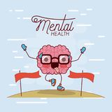 Mental health poster of brain cartoon with glasses running and pass finishing line and background light blue. Vector illustration Stock Photography