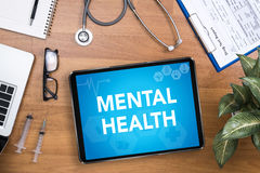 Mental Health. Professional doctor use computer and medical equipment all around, desktop top view Stock Image
