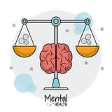Mental health scale weight gears. Vector illustration eps 10 vector illustration
