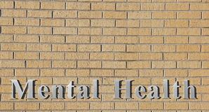 Mental Health Sign Natural Stone Brick Wall Royalty Free Stock Photos
