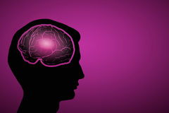 Mental health. Silhouette of human head with brain on color background Stock Photo