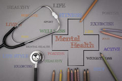 Mental health word cloud, health cross concept. Colored pencils Stock Image