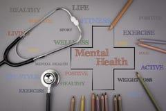 Mental health word cloud, health cross concept. Colored pencils