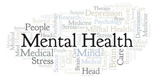 Mental Health word cloud. Wordcloud made with text only stock illustration