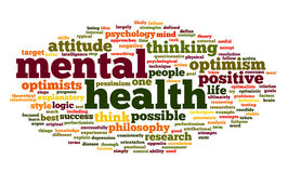 Mental health in word tag cloud royalty free illustration