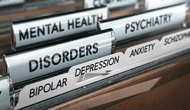 Mental Illness List, Psychiatric Disorders. Mental health concept. File with a list of psychiatric disorders. 3D illustration Royalty Free Stock Image