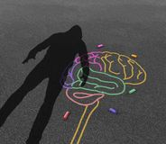 Mental Illness Violence. And violent behavior psychology disorder as the shadow of a troubled angry person or student with chalk drawing of a human brain in a Royalty Free Stock Images