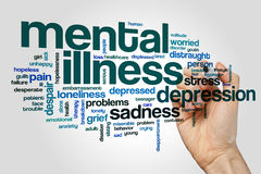Mental illness word cloud. Concept on grey background stock photo