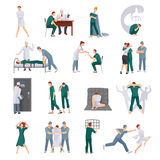 Mental Illnesses Icons Set. With mad people and medical staff in various situations isolated vector illustration stock illustration