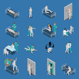 Mental Patients Isometric Set. Isometric set with mental patients on couches and with medical staff on blue background isolated vector illustration Royalty Free Stock Image