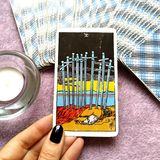 Ten of Swords Tarot Card Exhaustion Defeat Failure Ruin. Mental Stress Breakdown Exhaustion Defeat Failure Ruin Catastrophes Powerless Letting Go The Death of a vector illustration