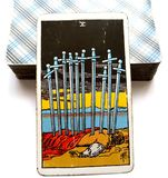 Ten of Swords Tarot Card Exhaustion Defeat Failure Ruin. Mental Stress Breakdown Exhaustion Defeat Failure Ruin Catastrophes Powerless Letting Go The Death of a stock illustration