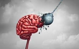 Mental styrka- och meningssvårighet som ett begrepp för psykologi eller för psykiatri för neurologi för hjärnmakt som en minneshä royaltyfri illustrationer