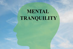 Mental Tranquility concept. Render illustration of MENTAL TRANQUILITY script on head silhouette, with cloudy sky as a background Stock Images