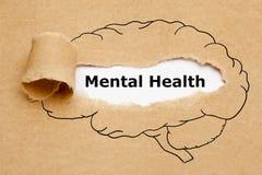 Mentala hälsor Brain Torn Paper Concept royaltyfria foton