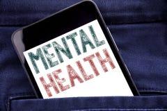Mentala hälsor för visning för handskriftmeddelandetext Affärsidé för mobiltelefonen för telefon för ångestsjukdomoordning den sk royaltyfri bild