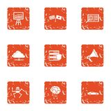 Mentality icons set, grunge style. Mentality icons set. Grunge set of 9 mentality vector icons for web isolated on white background vector illustration