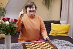 Mentally disabled woman has an idea Stock Photos