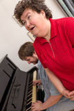 Mentally disabled woman in a music therapy Stock Photography