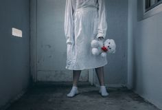 Mentally ill girl with straitjacket in a Psychiatric Royalty Free Stock Photo